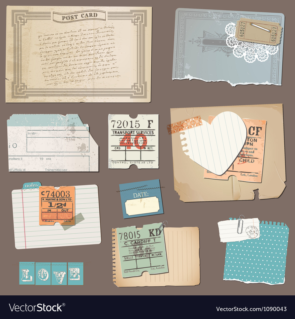Set of old paper objects vector | Price: 3 Credit (USD $3)