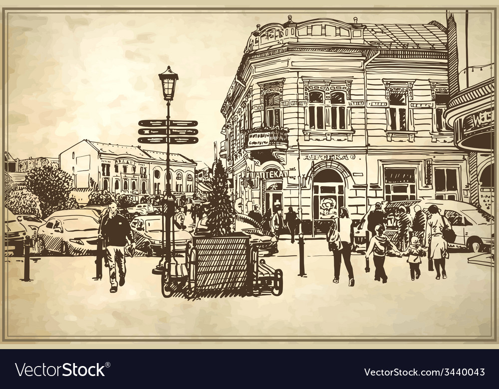 Sketch of uzhgorod cityscape vector | Price: 3 Credit (USD $3)