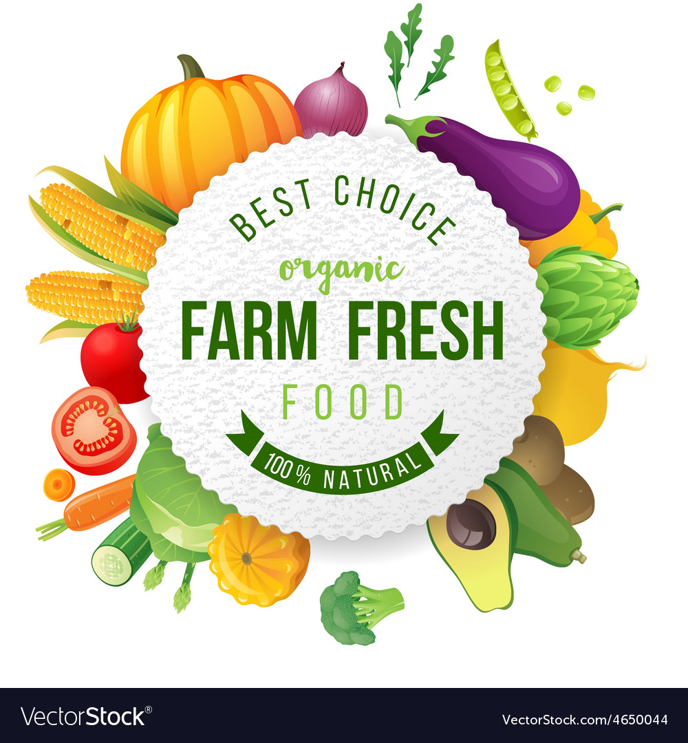 Emblem with fresh vegetables and type design vector | Price: 3 Credit (USD $3)