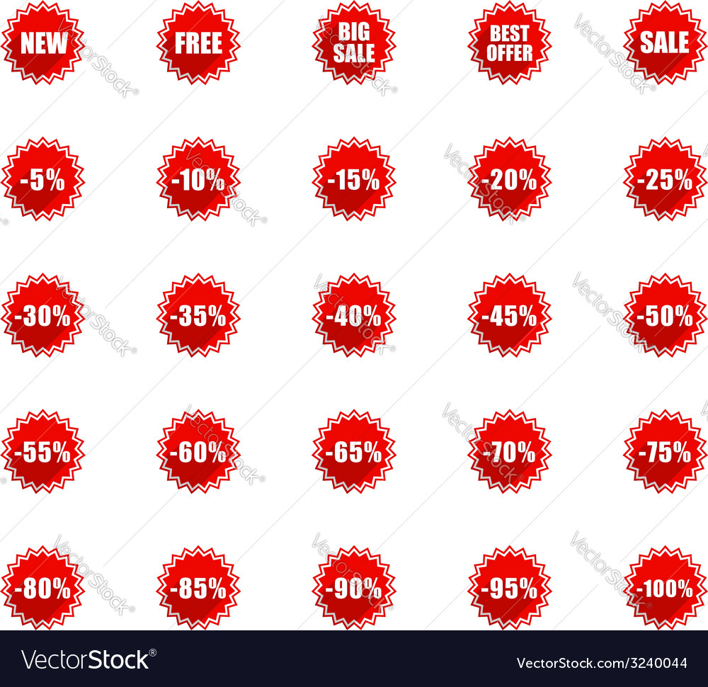 Flat sales tags vector | Price: 1 Credit (USD $1)