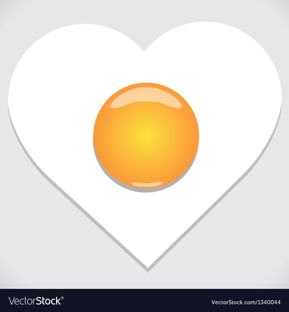 Heart shape from fried egg vector | Price: 1 Credit (USD $1)
