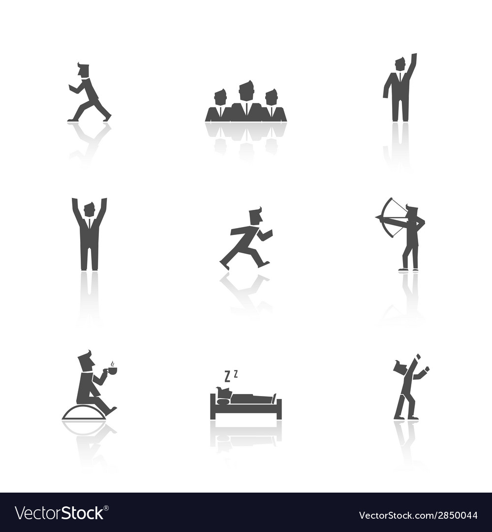 Man action icons set vector | Price: 1 Credit (USD $1)