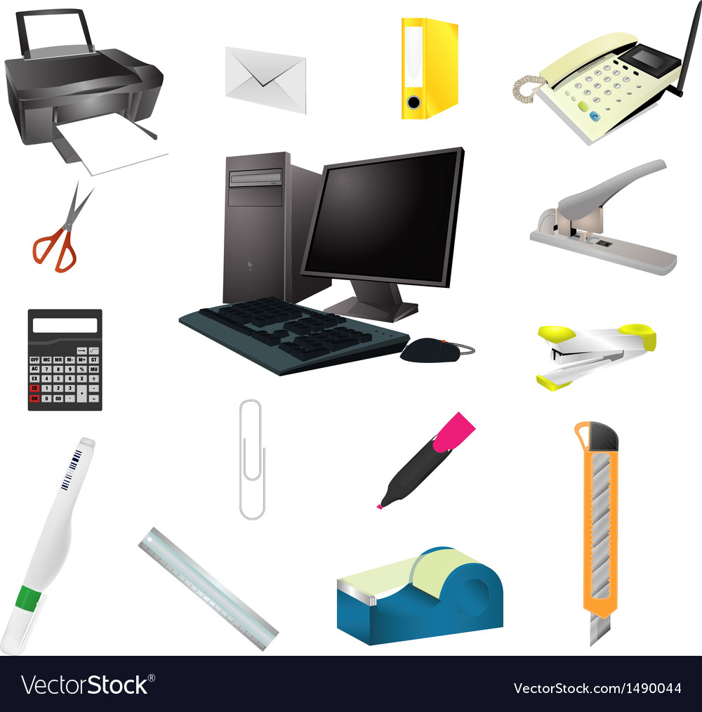 Office tools realistic icon set vector | Price: 1 Credit (USD $1)