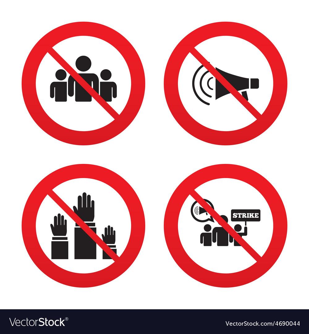 Strike group of people megaphone loudspeaker vector | Price: 1 Credit (USD $1)