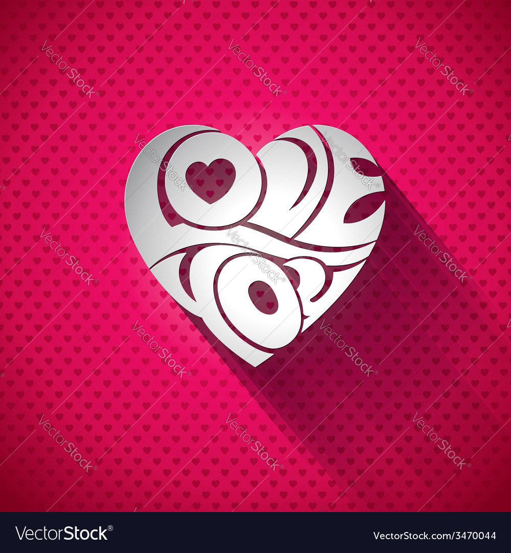 Valentines day with 3d love you vector | Price: 1 Credit (USD $1)