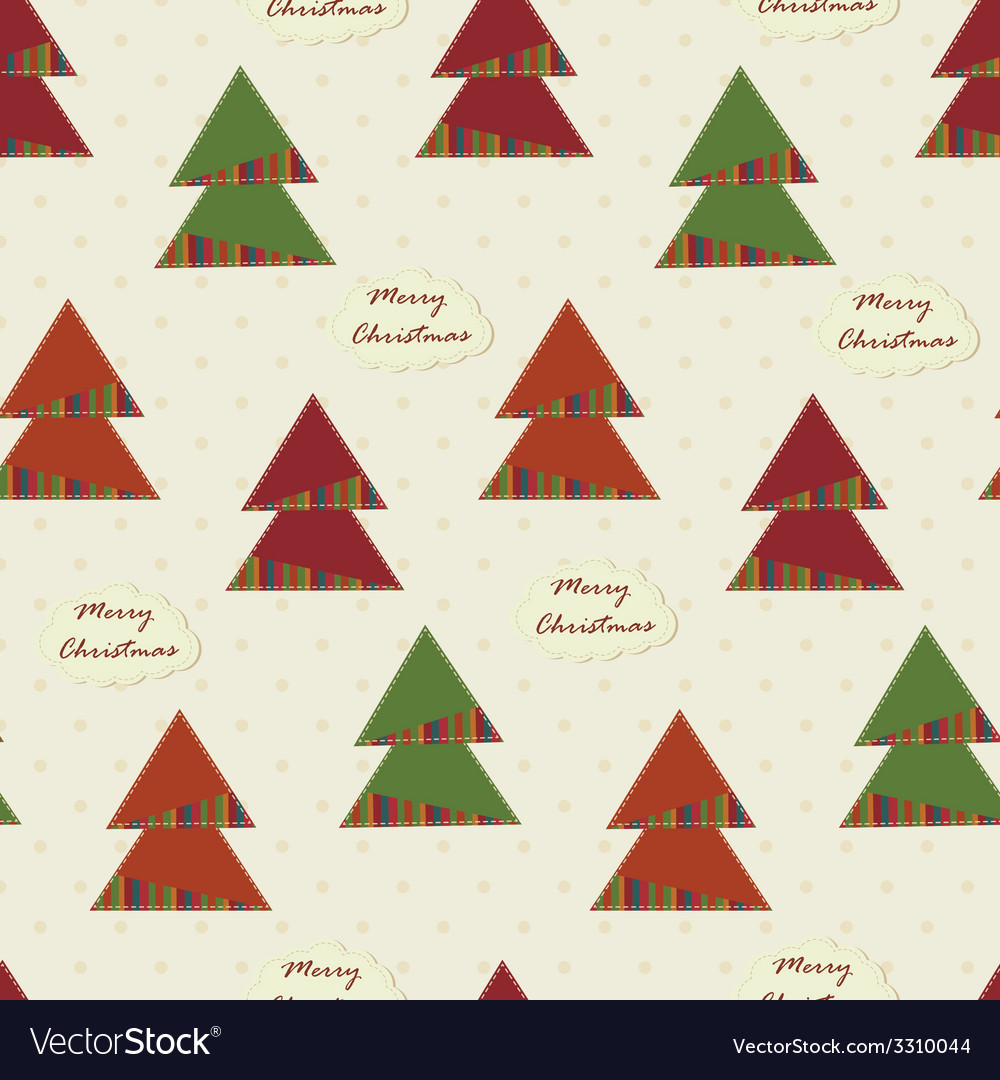 Vintage christmas seamless with christmas trees vector | Price: 1 Credit (USD $1)