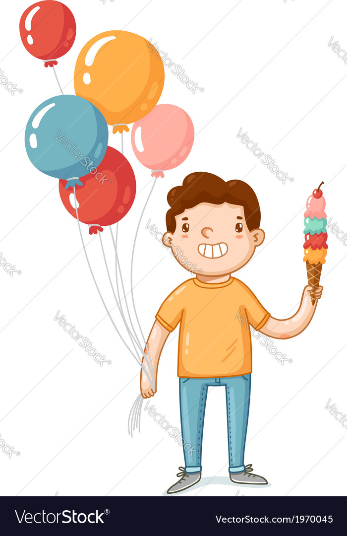 A boy with balloons and ice cream vector | Price: 1 Credit (USD $1)