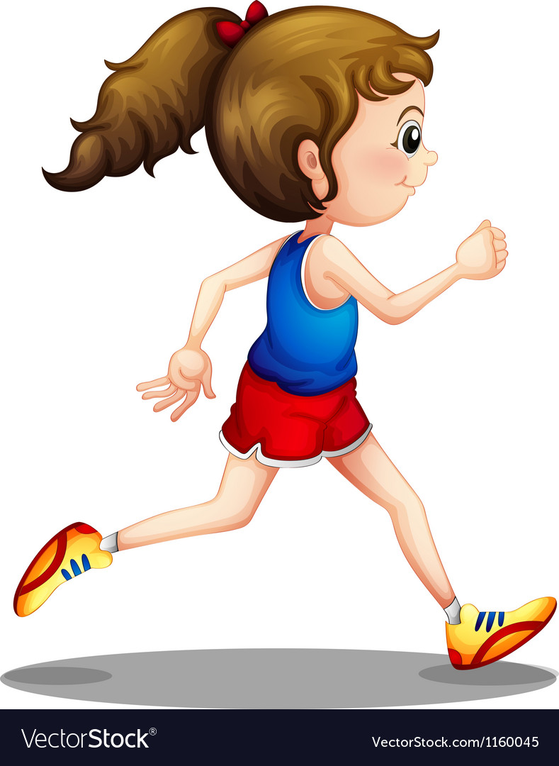 A young girl running vector | Price: 1 Credit (USD $1)