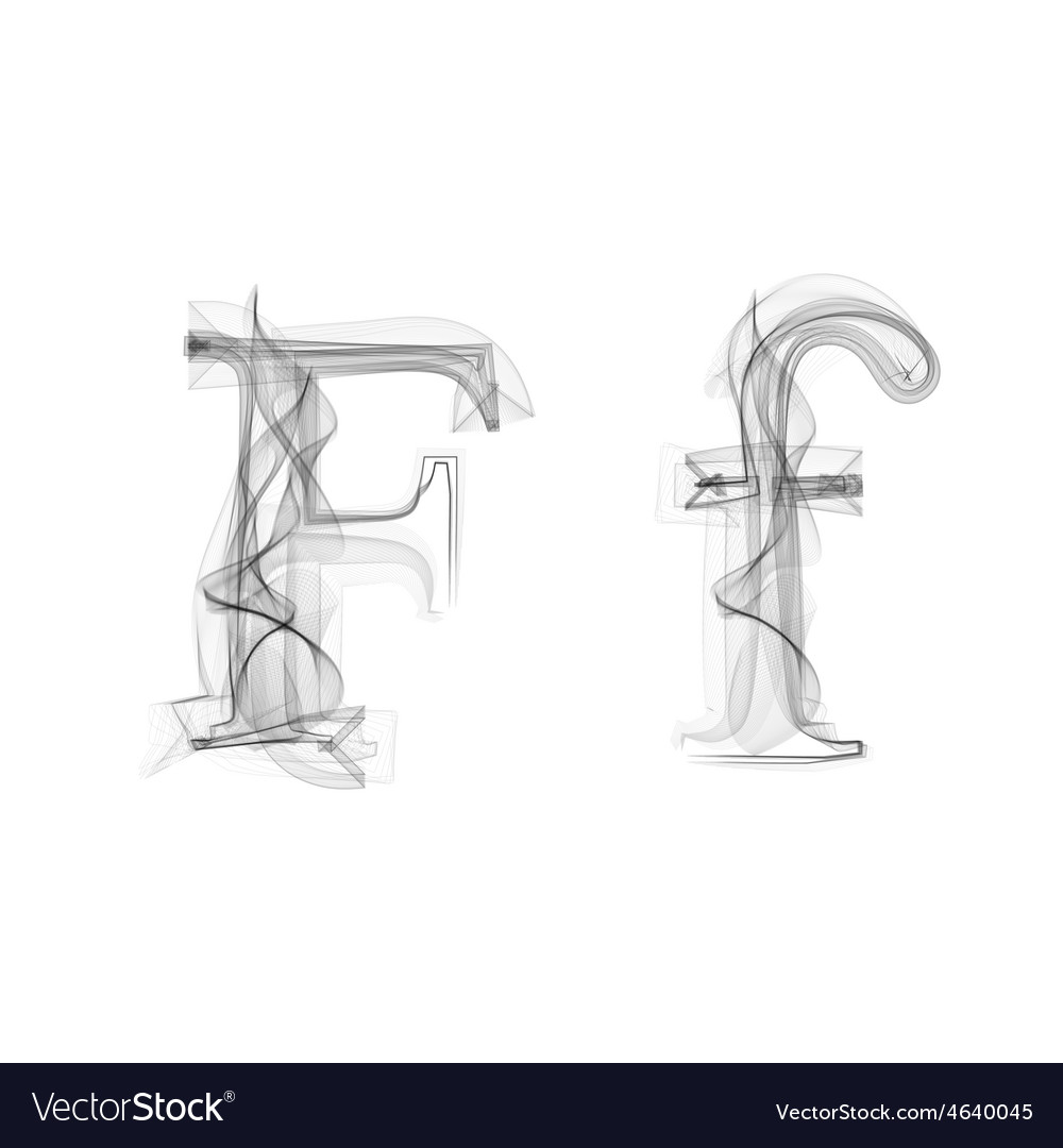 Black smoke font letter f vector | Price: 1 Credit (USD $1)