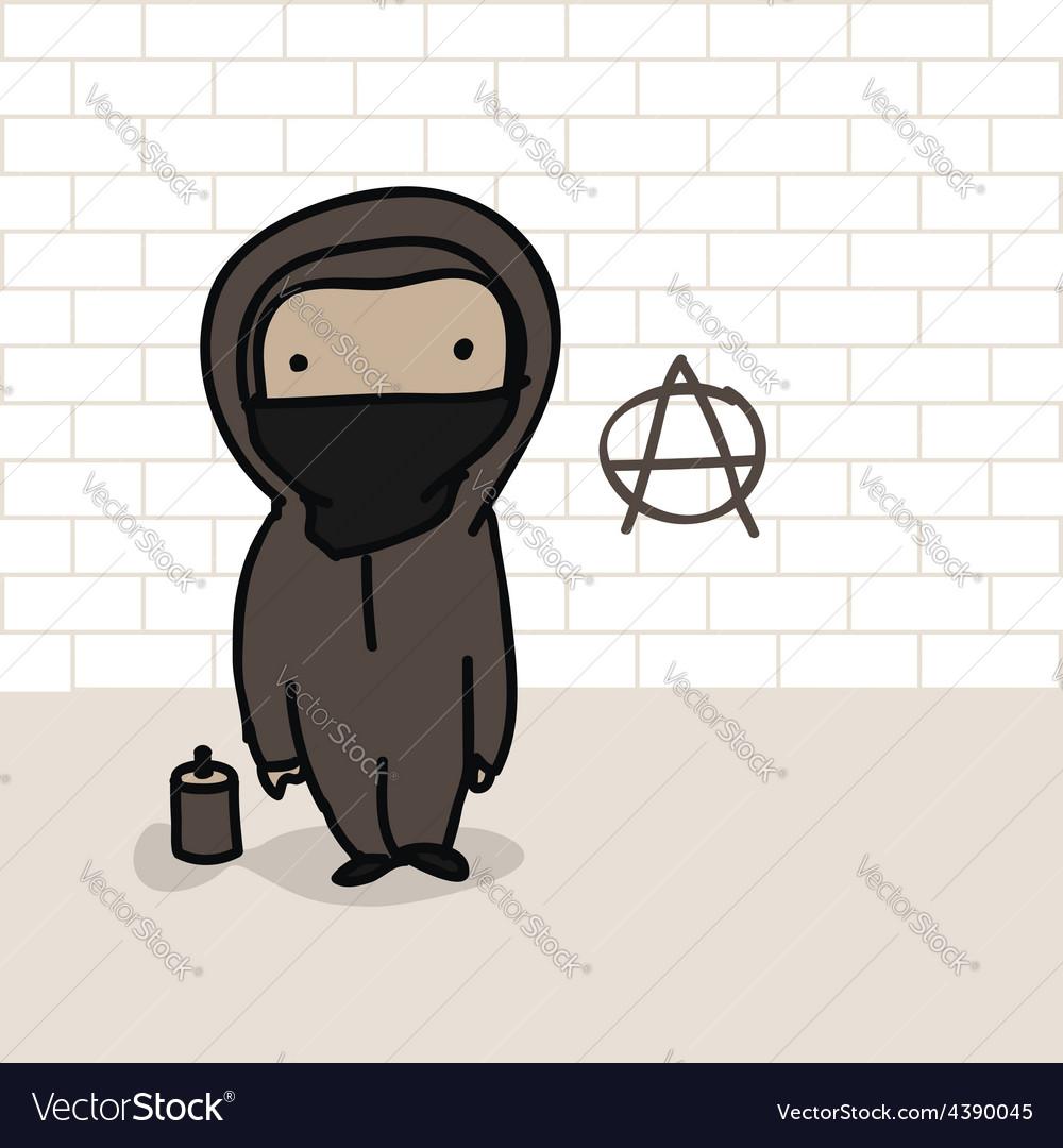 Cartoon anarchist vector | Price: 1 Credit (USD $1)