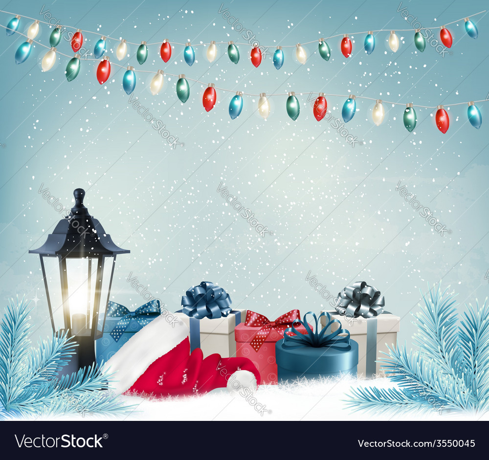 Christmas background with a lantern and presents vector | Price: 3 Credit (USD $3)