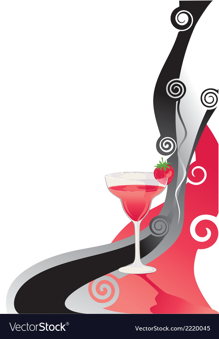Cocktail red and black background vector | Price: 1 Credit (USD $1)