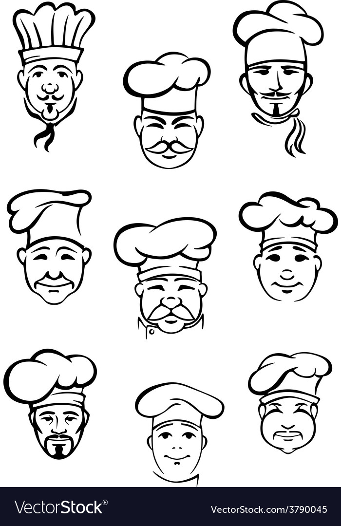 Collection of chefs in traditional toques vector | Price: 1 Credit (USD $1)