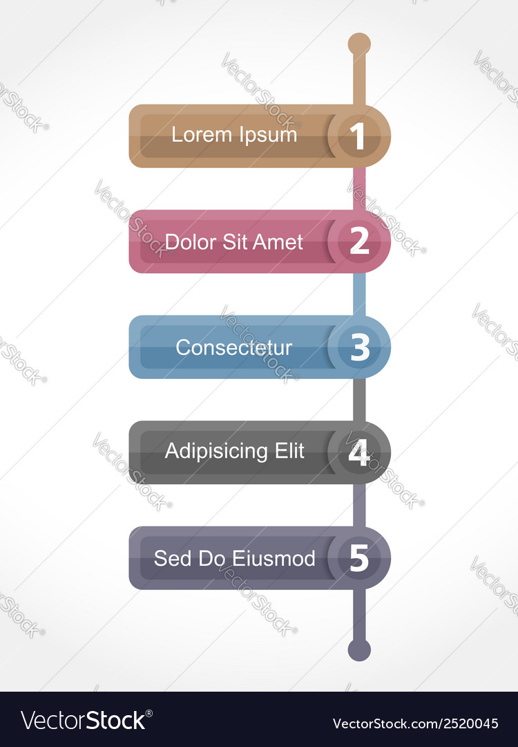 Design template with five elements vector | Price: 1 Credit (USD $1)