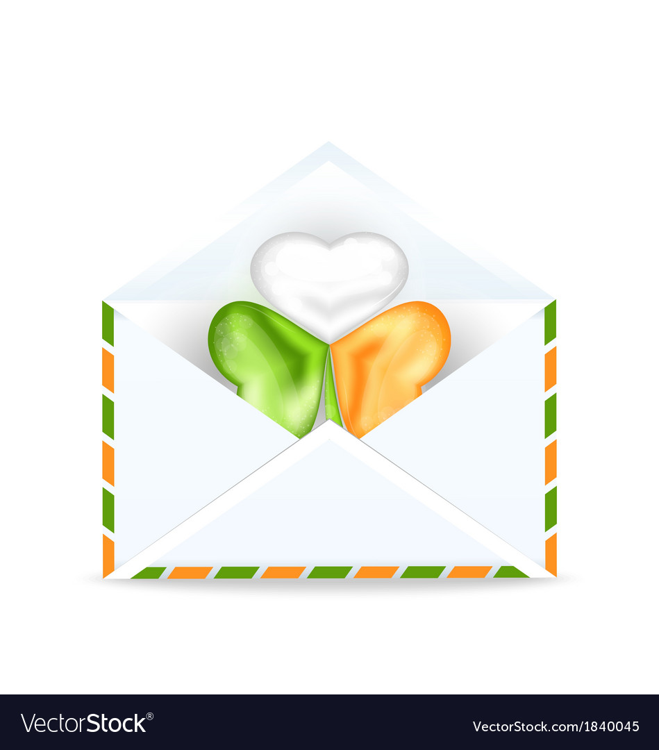 Envelope with clover in irish flag color for st vector | Price: 1 Credit (USD $1)