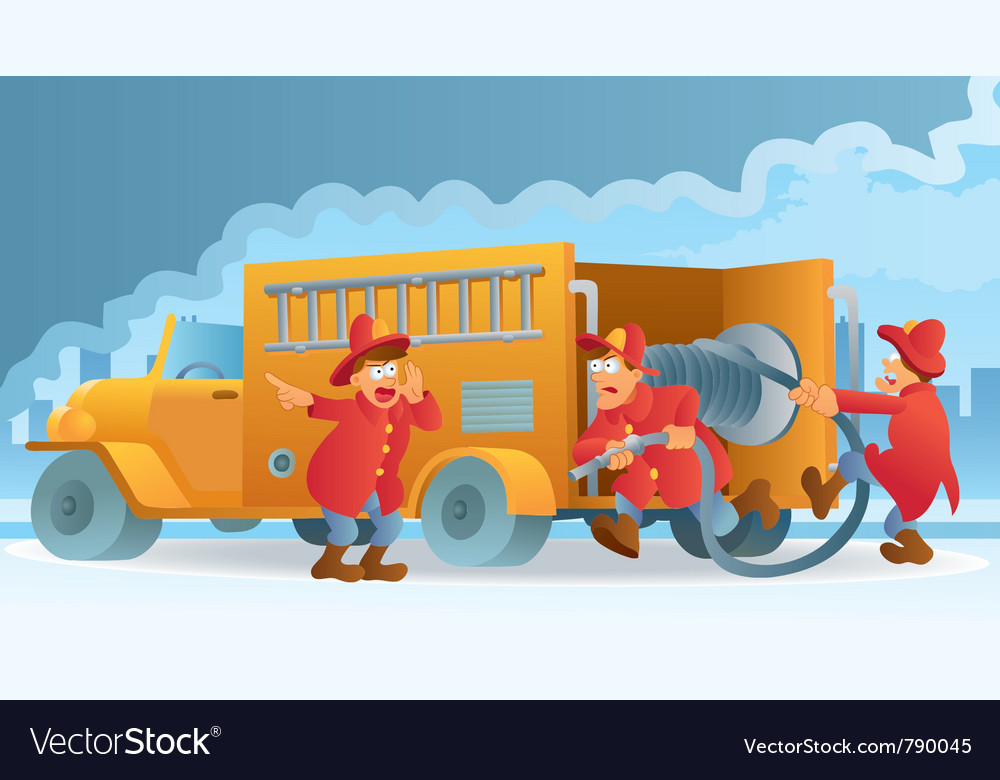 Fireman in action vector | Price: 3 Credit (USD $3)