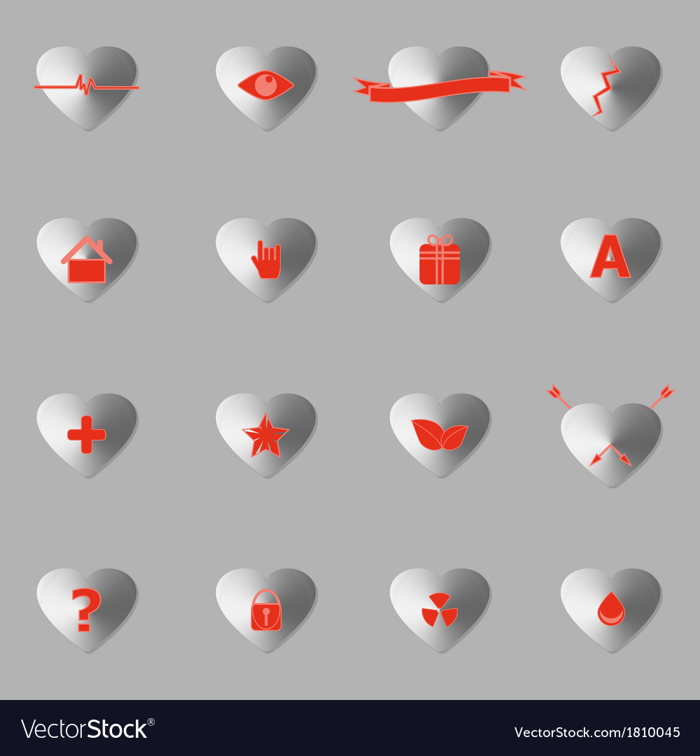 General symbol in heart shape icons with shadow vector | Price: 1 Credit (USD $1)