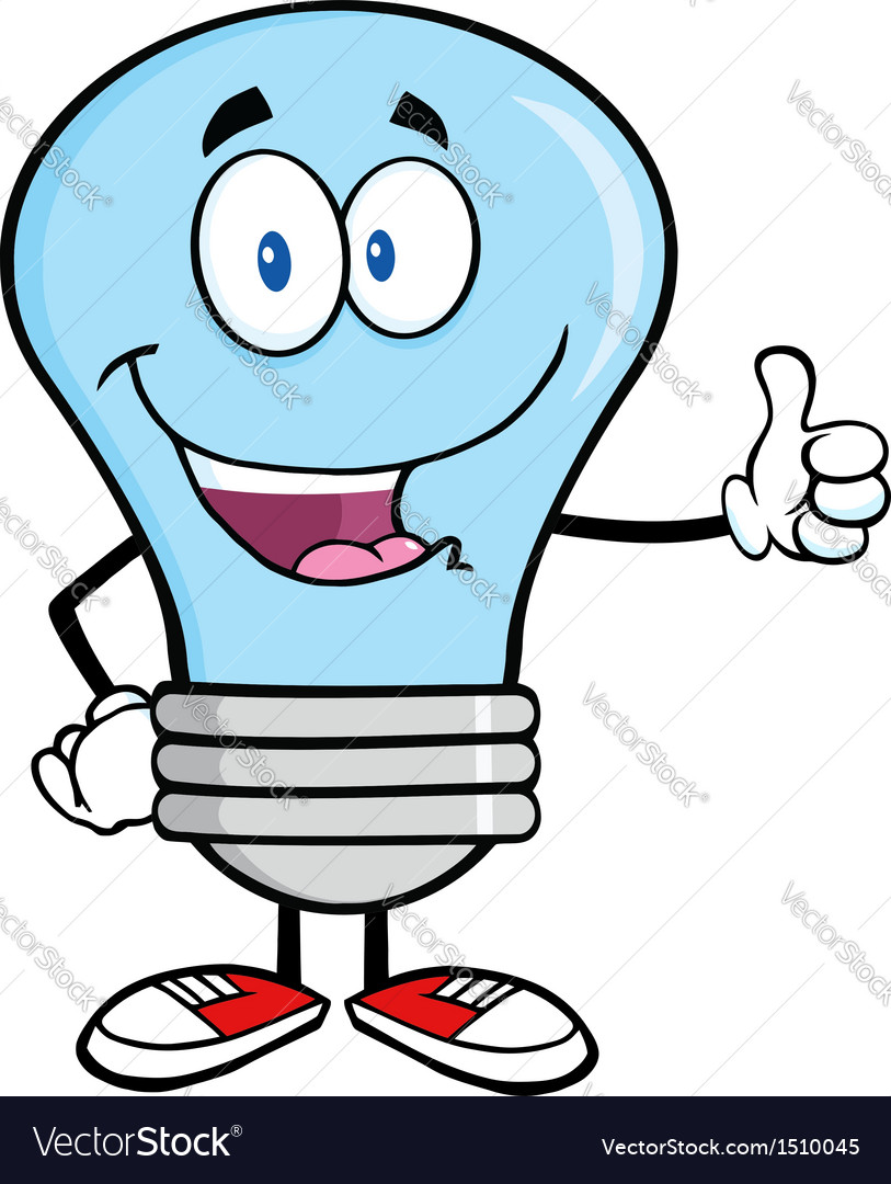 Happy light bulb cartoon vector | Price: 1 Credit (USD $1)