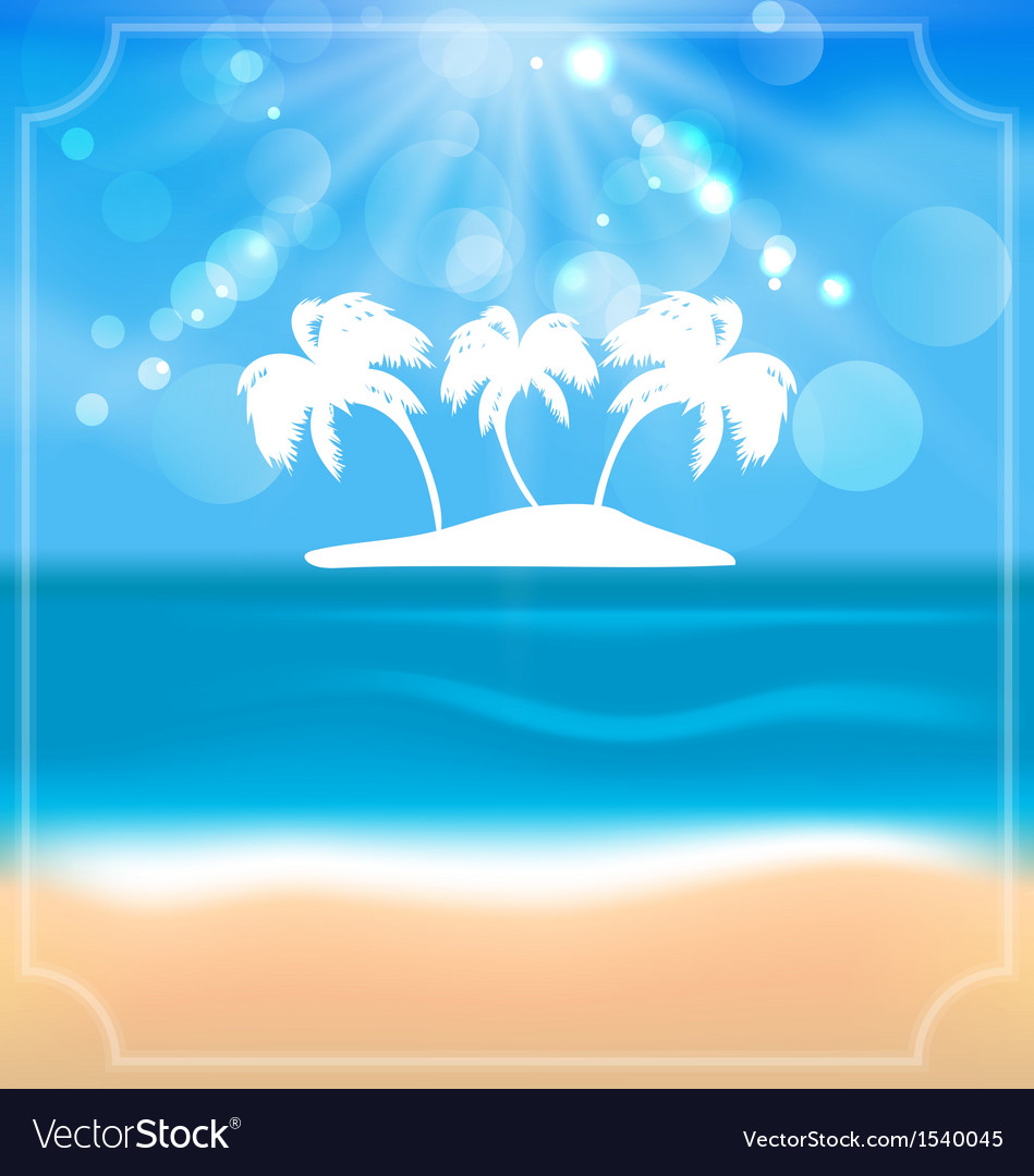 Holiday summer card with beautiful beach and palms vector | Price: 1 Credit (USD $1)