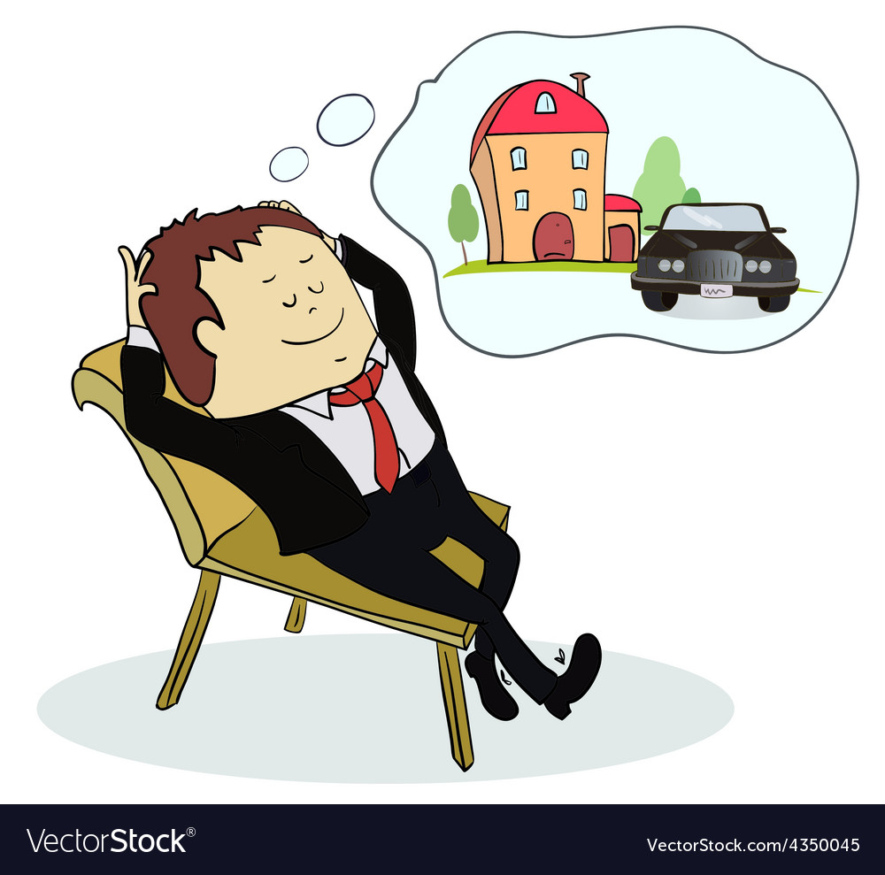 Man dreaming house and car vector | Price: 1 Credit (USD $1)