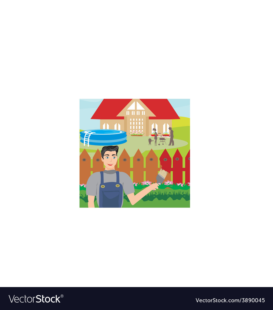 Man paints a fence in the garden vector | Price: 1 Credit (USD $1)