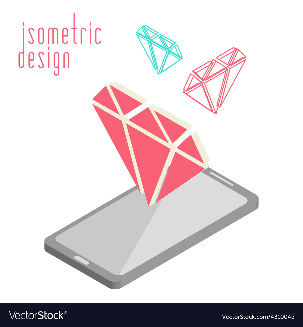 Mobile phone in isometric projection vector | Price: 1 Credit (USD $1)
