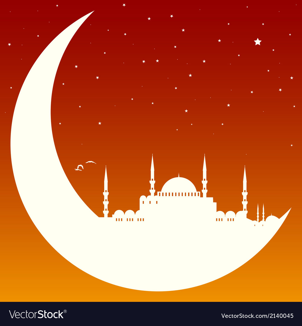Moon with mosque vector | Price: 1 Credit (USD $1)