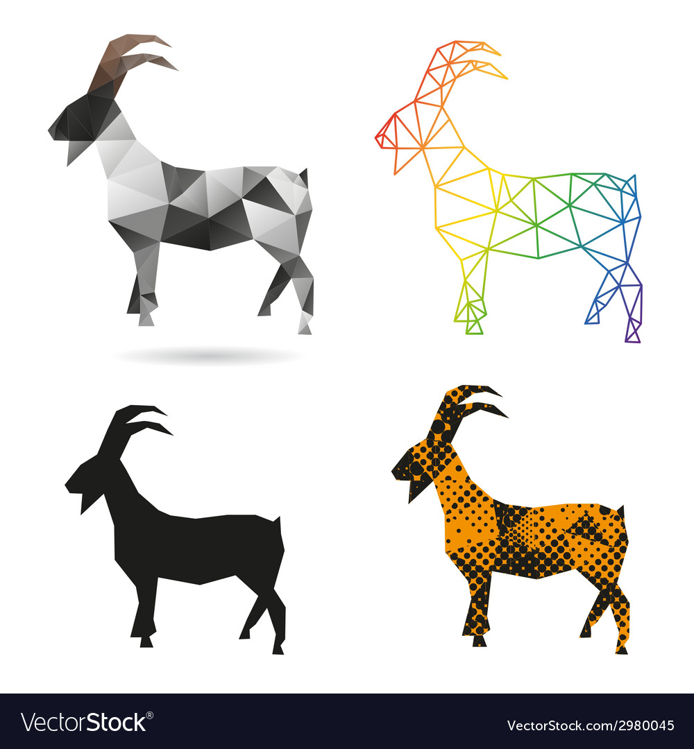 Set goats abstract isolated vector | Price: 1 Credit (USD $1)