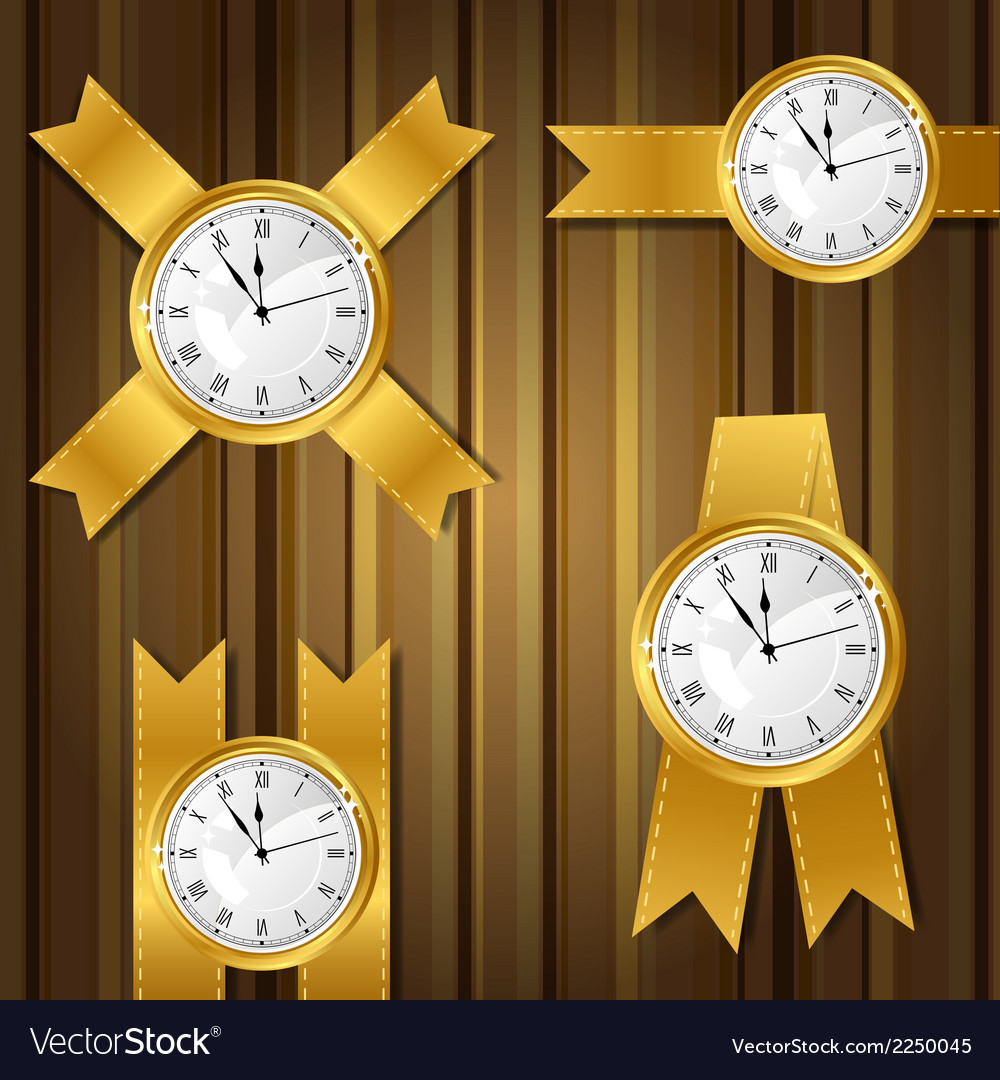 Set of gold watches and ribbon vector | Price: 1 Credit (USD $1)