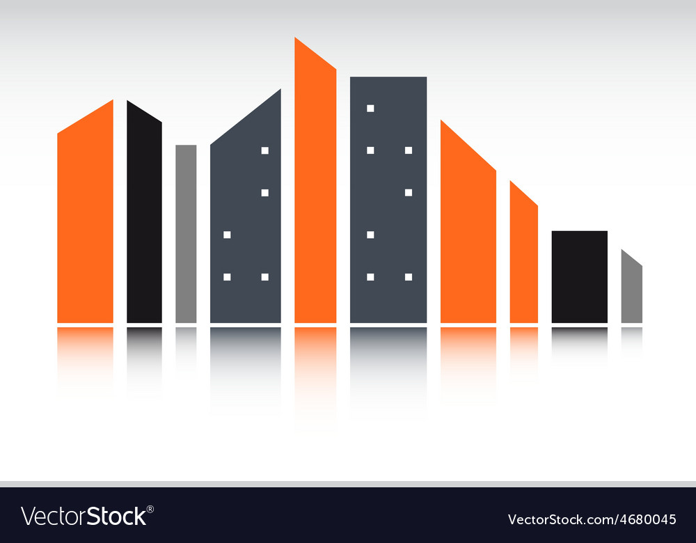 Urban landscape with modern city silhouette vector | Price: 1 Credit (USD $1)