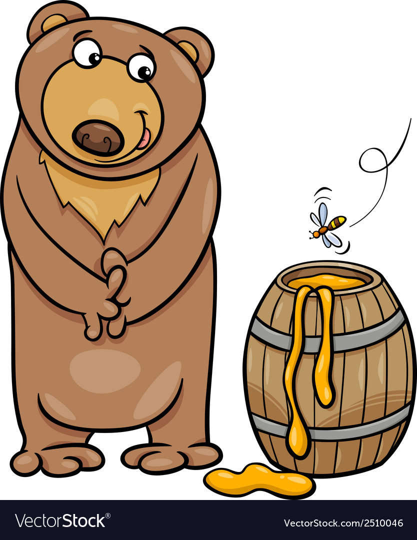 Bear with honey cartoon vector | Price: 1 Credit (USD $1)