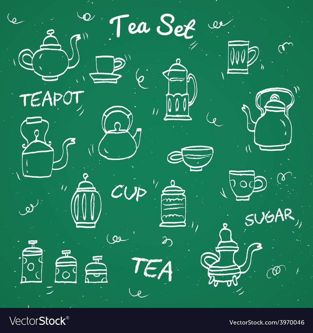 Chalk tea collection vector | Price: 1 Credit (USD $1)