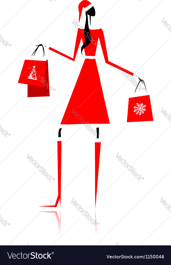 Christmas shopping santa girl with gifts vector   Price: 1 Credit (USD $1)