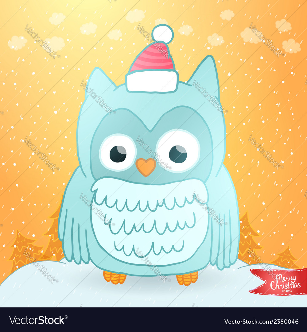 Merry christmas greeting card with an owl vector   Price: 1 Credit (USD $1)