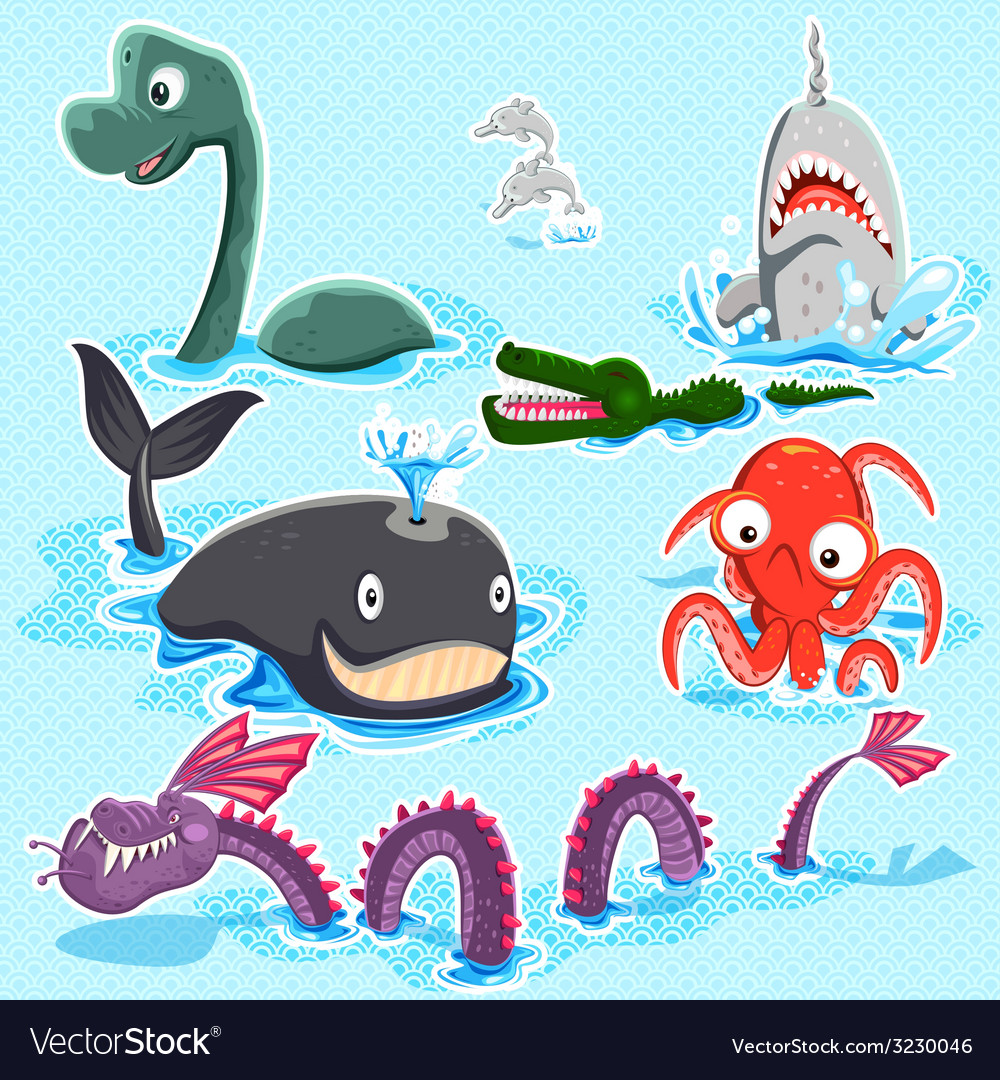 Monsters of the deep blue sea collection set vector | Price: 3 Credit (USD $3)