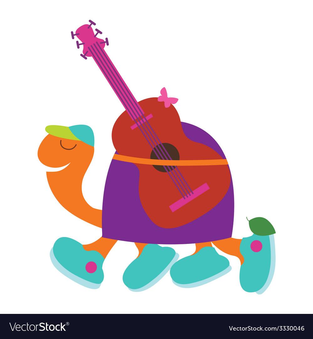 Romantic turtle guitarist vector | Price: 1 Credit (USD $1)