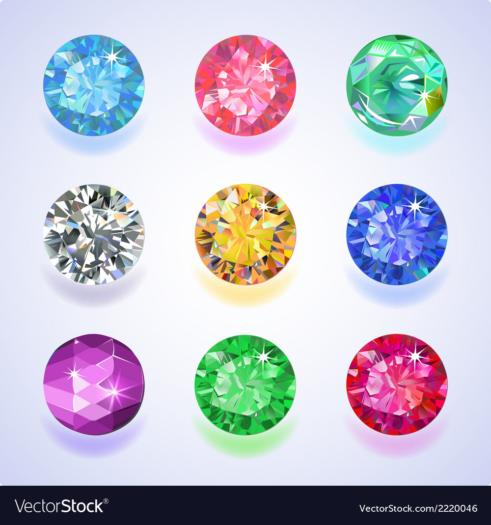 Round shape top view colored gems vector | Price: 1 Credit (USD $1)