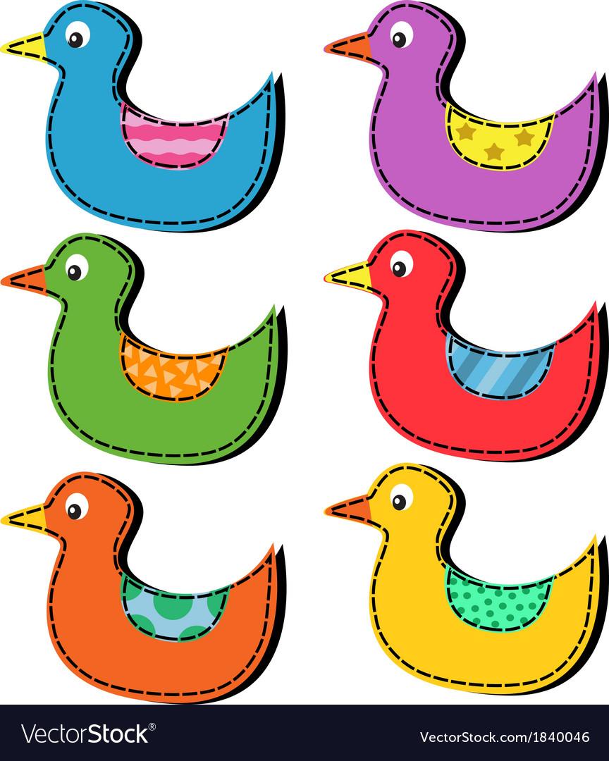 Set cartoon ducks vector | Price: 1 Credit (USD $1)