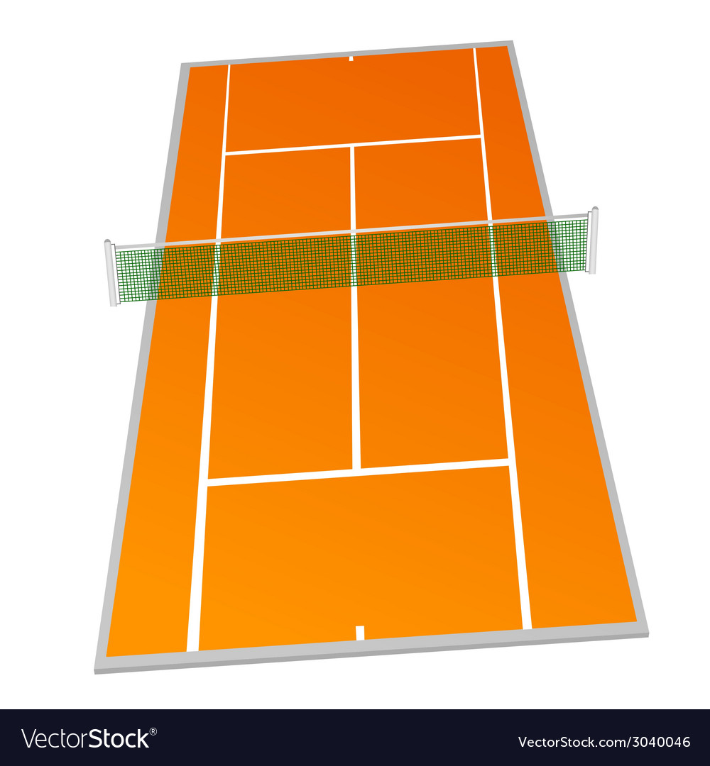 Tennis court orange color vector | Price: 1 Credit (USD $1)