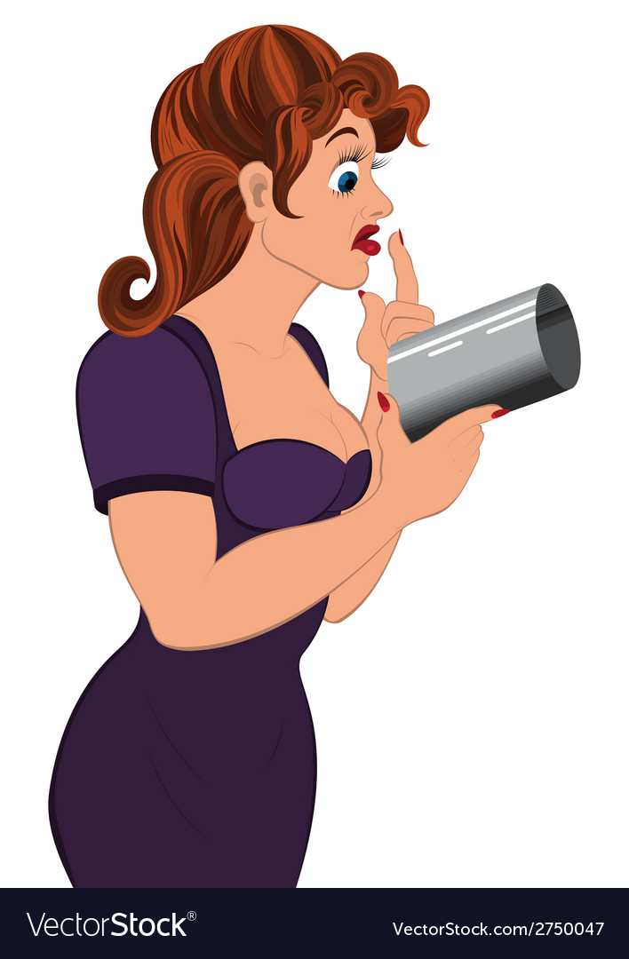 Cartoon woman holding gray cylinder top vector | Price: 1 Credit (USD $1)