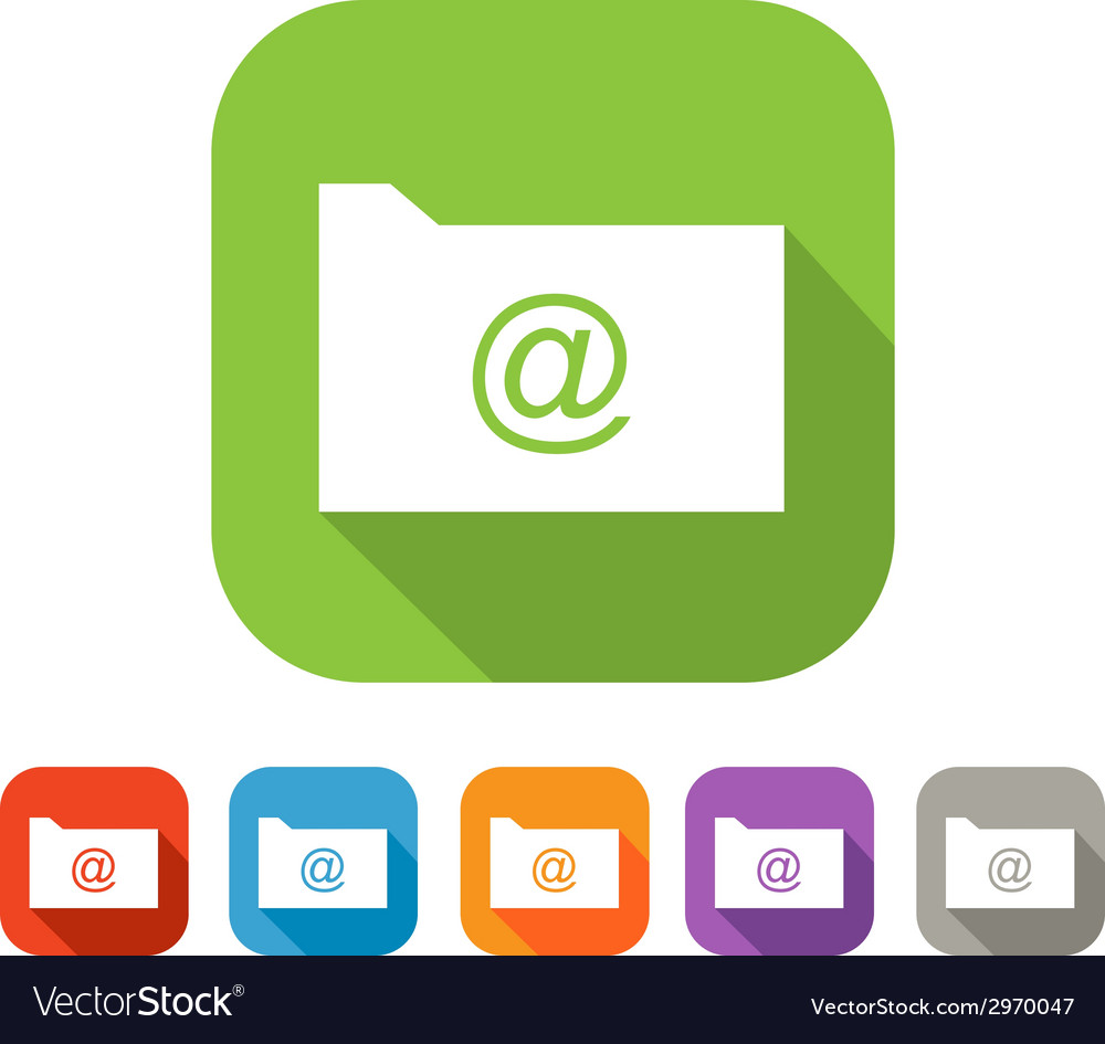 Color set of flat folder with mail sign vector | Price: 1 Credit (USD $1)