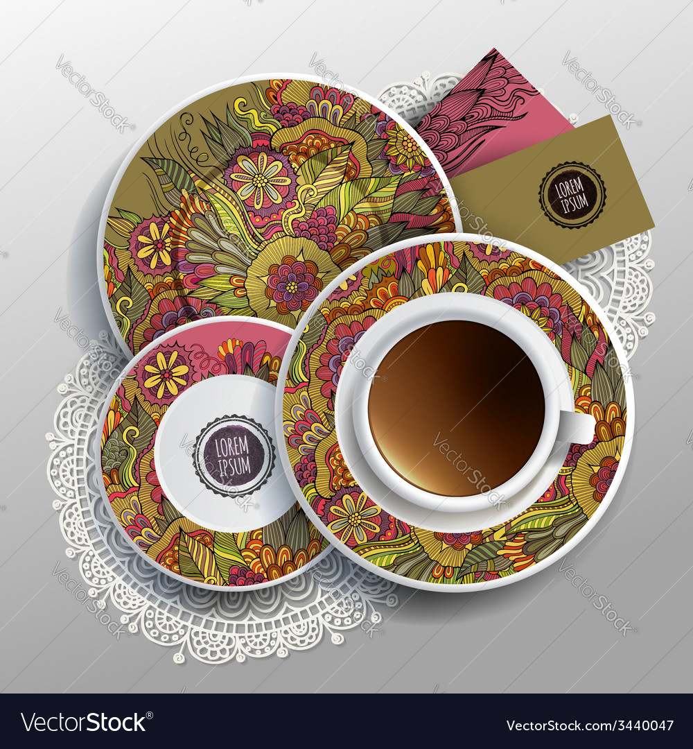Cup of coffee business cards vector | Price: 1 Credit (USD $1)