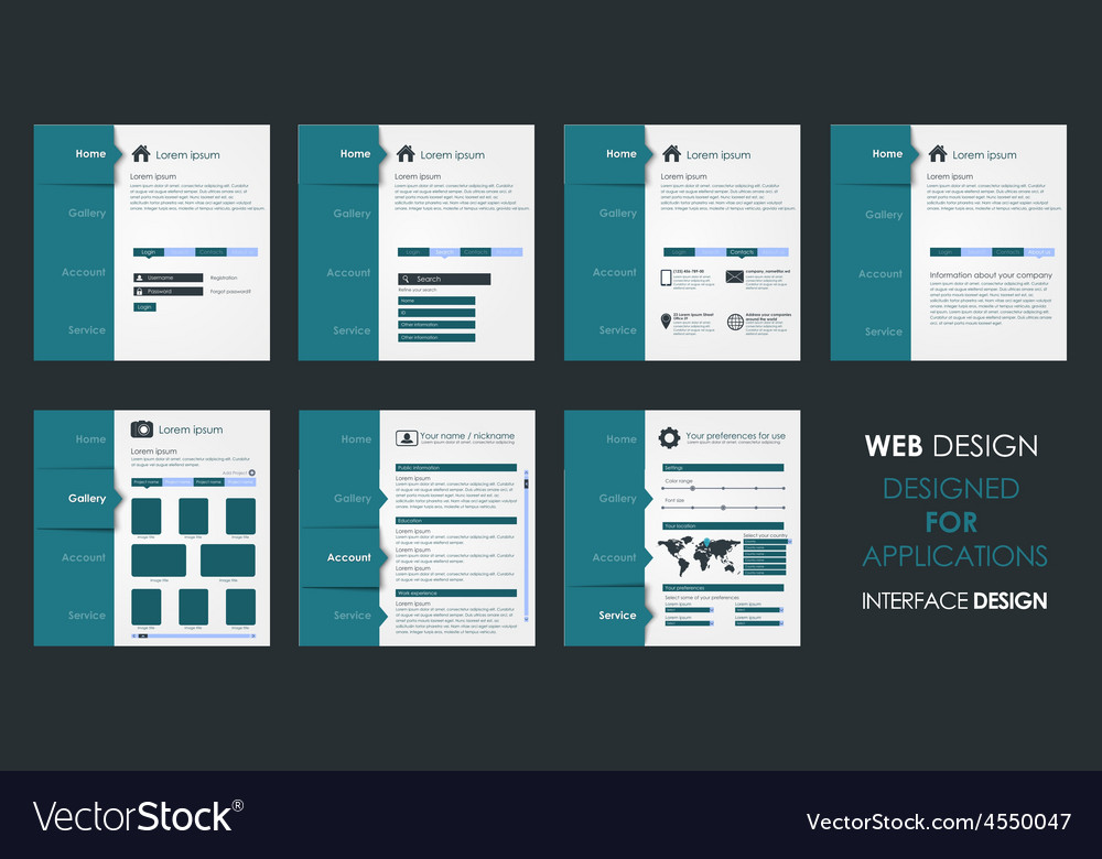 Design of a flat interface vector | Price: 1 Credit (USD $1)
