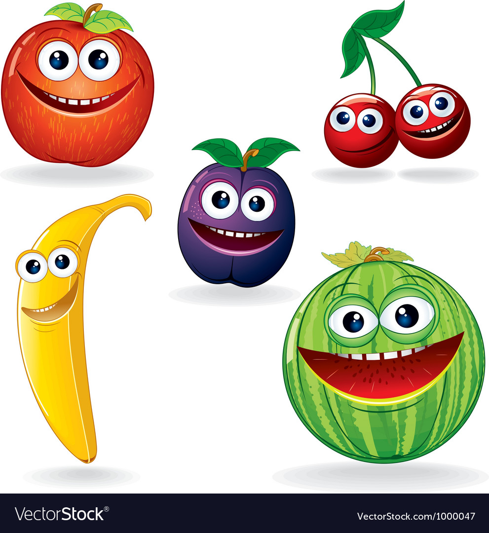 Funny fruits cartoons vector | Price: 1 Credit (USD $1)