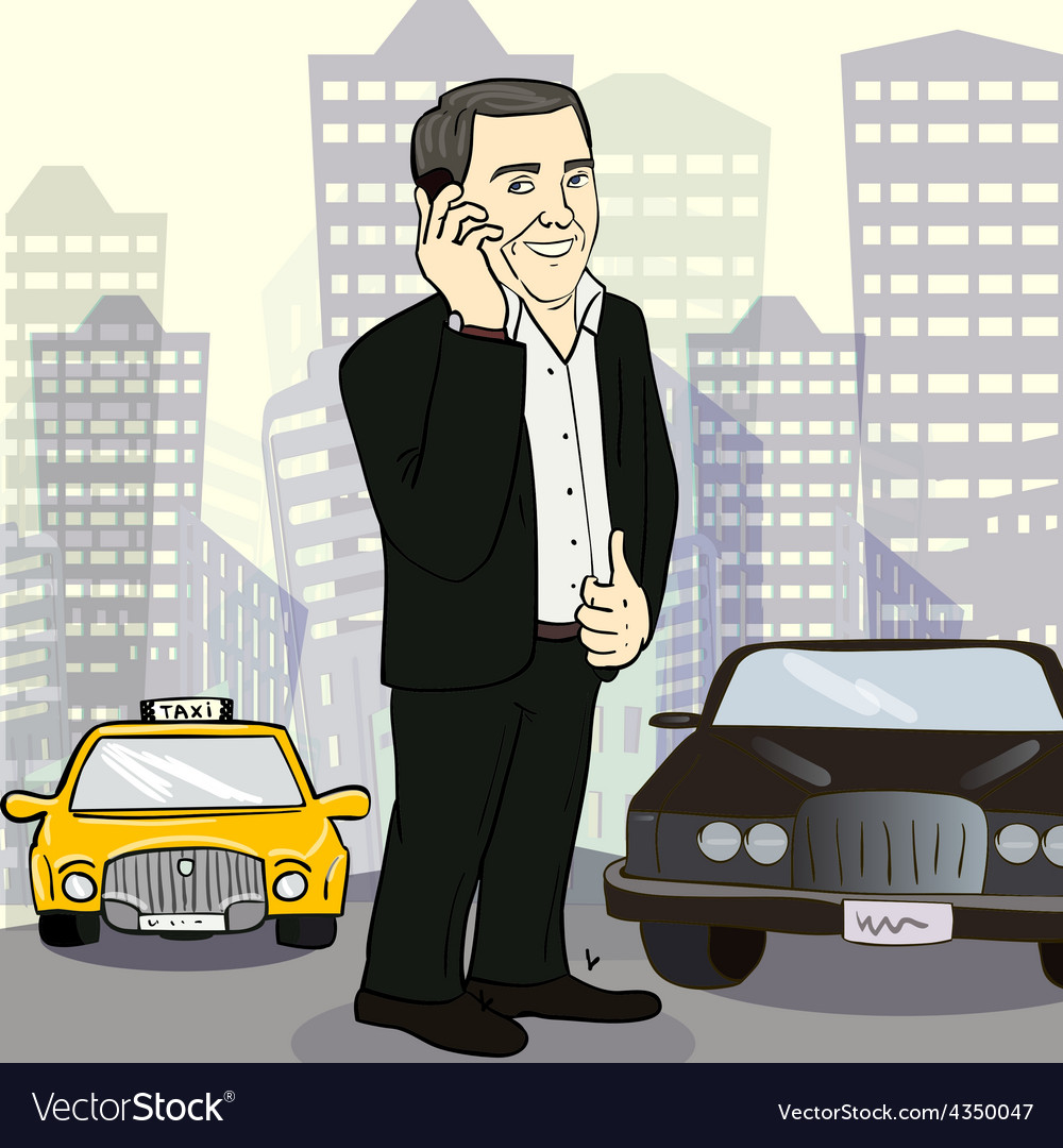 Isolated smiling businessman on a city street vector | Price: 1 Credit (USD $1)