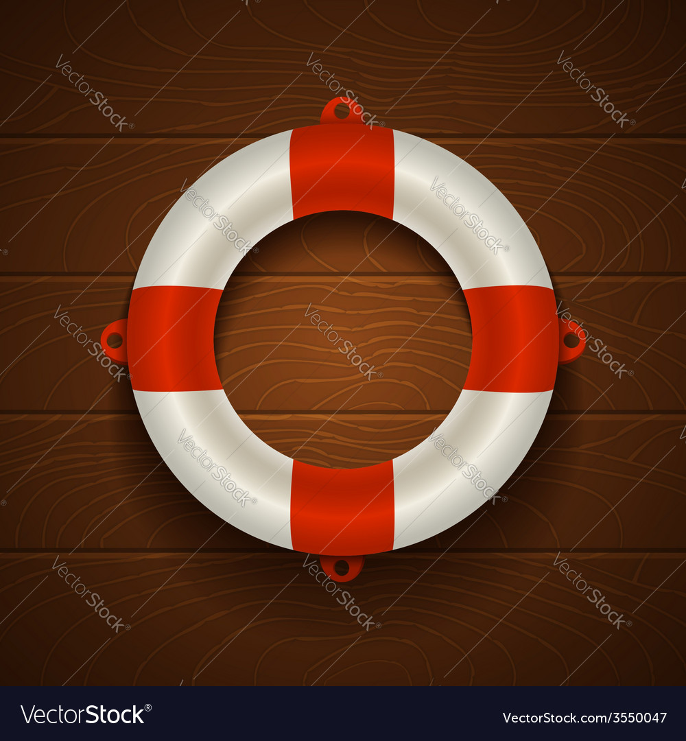 Lifebuoy on wooden bacground vector | Price: 1 Credit (USD $1)