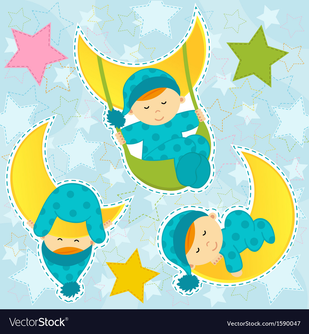Set icon baby boy sleeping vector | Price: 1 Credit (USD $1)