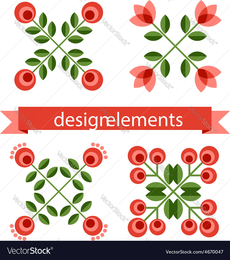 Set of design elements - retro flowers vector | Price: 1 Credit (USD $1)