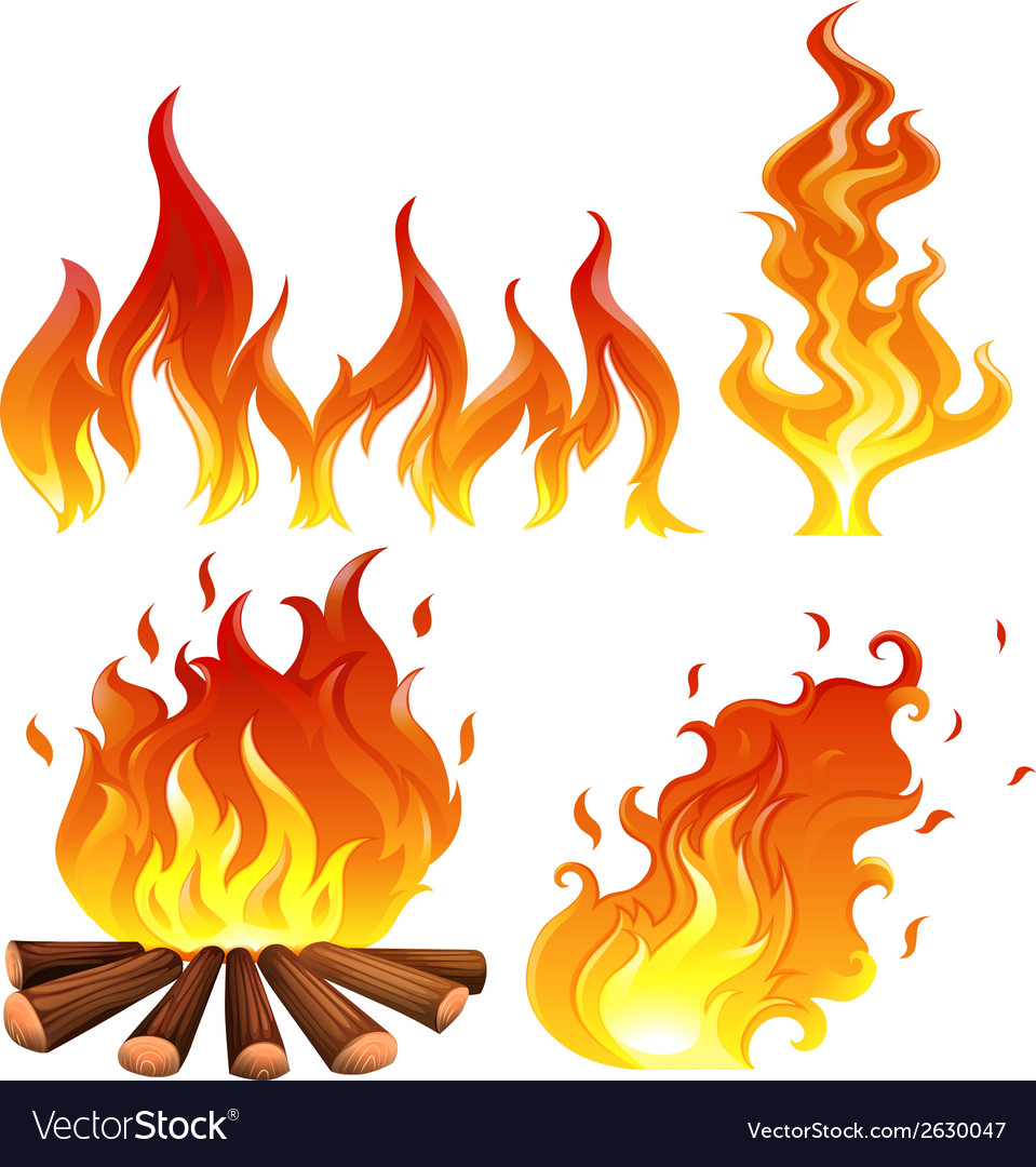Set of flames vector | Price: 1 Credit (USD $1)