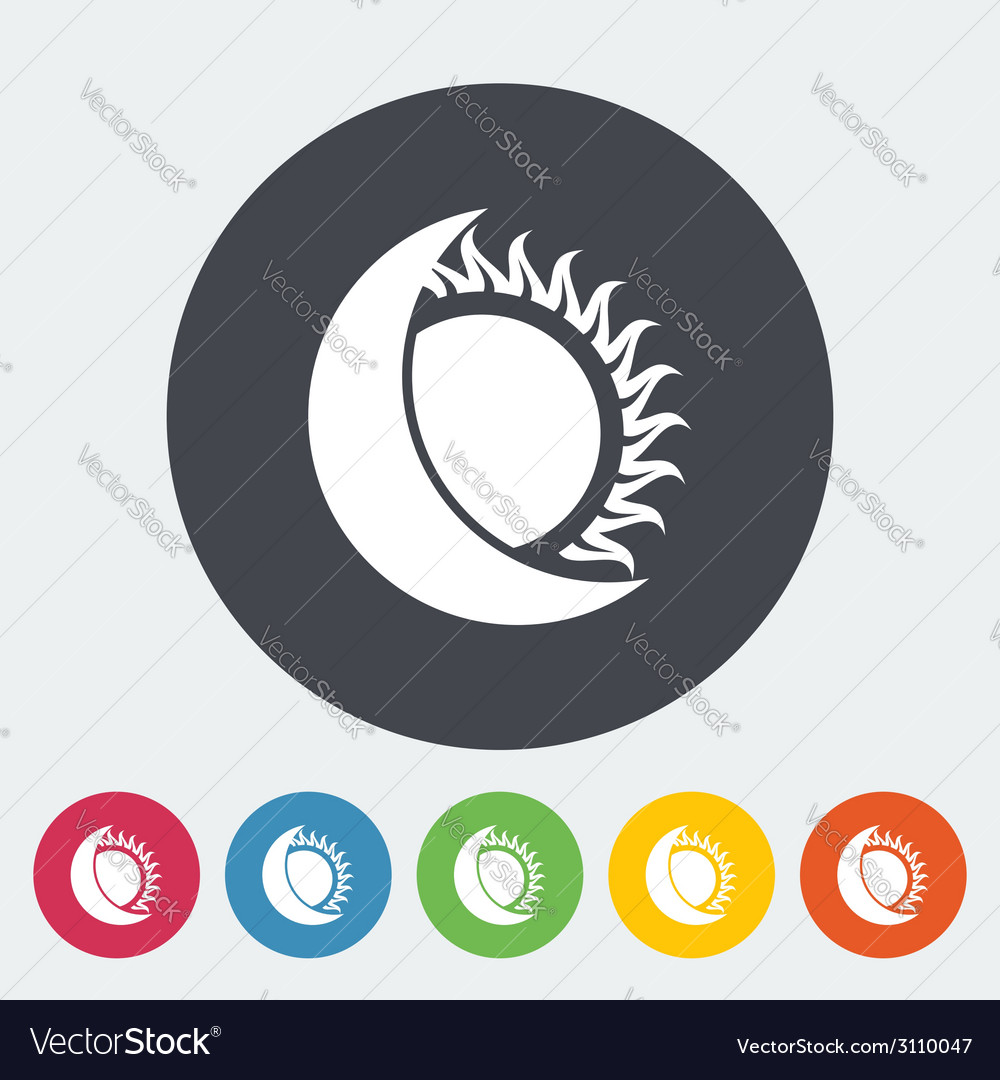Solar eclipse single icon vector | Price: 1 Credit (USD $1)